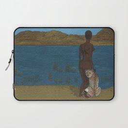 Woman & Cheetah Laptop Sleeve