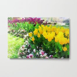 Tulip Garden in Watercolour Metal Print