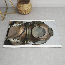 Antique vintage metal underwater deep sea diving helmet Rug