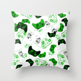 Video Game White and Green Throw Pillow