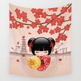 Japanese Red Sakura Kokeshi Doll Wall Tapestry