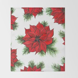 Poinsettia and fir branches pattern Throw Blanket