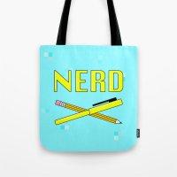nerd Tote Bags featuring Nerd by HELLA NINA