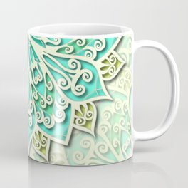 White cyan and yellow Beautiful Wedding Mandala Coffee Mug