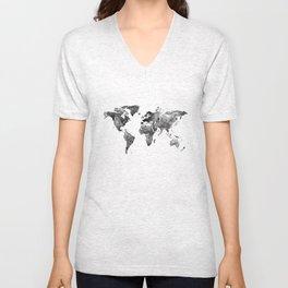World map, Black and white world map Unisex V-Neck