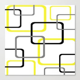 Geometric Rounded Rectangles Collage Yellow Canvas Print
