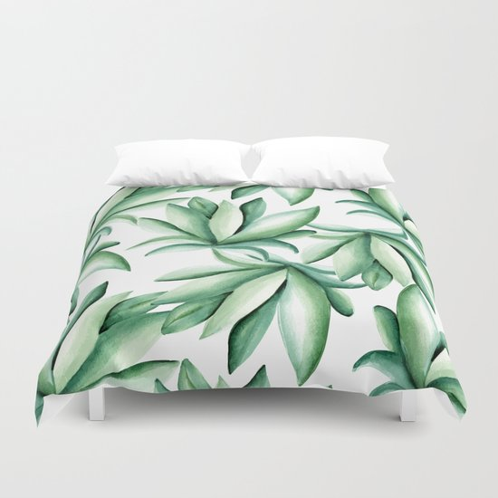 Green leaves  Duvet Cover