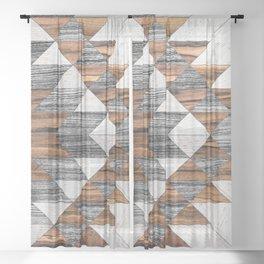 Urban Tribal Pattern No.12 - Aztec - Wood Sheer Curtain