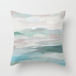 Sage Green Sky Blue Blush Pink Abstract Nature Sky Wall Art, Water Land Painting Print Throw Pillow