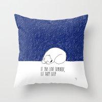 sleep Throw Pillows featuring Sleep by Anais Moods