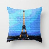 eiffel Throw Pillows featuring Eiffel by osile ignacio