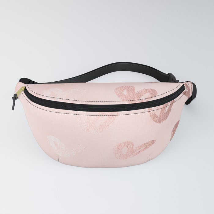 Rosegold Hearts on Pink Fanny Pack