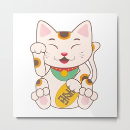 Lucky Cat Maneki Neko Metal Print