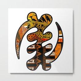Gye Nyame Black and Gold Metal Print