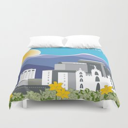 Salt Lake City, Utah - Skyline Illustration by Loose Petals Duvet Cover