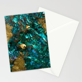 Teal Oil Slick and Gold Quartz Stationery Cards