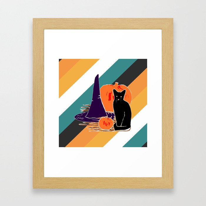 Witch Cat Pumpkin in Candy Corn Framed Art Print