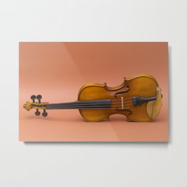 violin on a brown background Metal Print