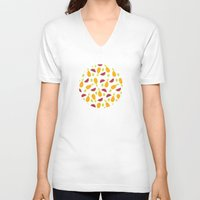 fruits V-neck T-shirts featuring summer fruits by Maya Bee Illustrations