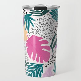 Tropical Colourful Collage Pattern Travel Mug
