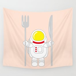 Space Odyssey | Astronaut Eats | Space Utensils | Galaxy Fork and Knife | pulps of wood Wall Tapestry