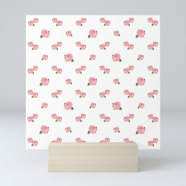 Pink Roses Repeat Pattern Mini Art Print