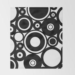 Retro Black White Circles Pop Art Throw Blanket
