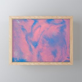 Abstract pink and blue sky paining in fluid art style Framed Mini Art Print
