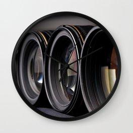 Row of photo lenses Wall Clock