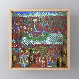 Colorful Buddhist Mosaic and Buddha Figurines, Temple, Laos Framed Mini Art Print