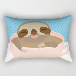 Sloth in a Pink cup coffee, tea, Three-toed sloth Rectangular Pillow