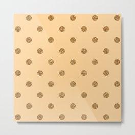 Burly Wood1 Gold Glitter Dot Pattern Metal Print