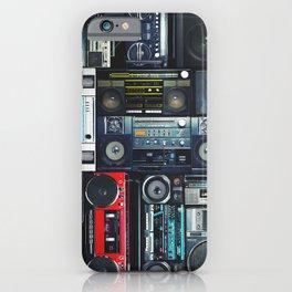 Retro Pop Eighties Boombox Radio Pattern iPhone Case
