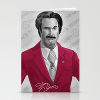 burgundy Stationery Cards featuring Ron Burgundy by Dave Collinson