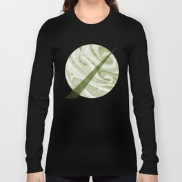 Abstract Green Waves Design Long Sleeve T-shirt