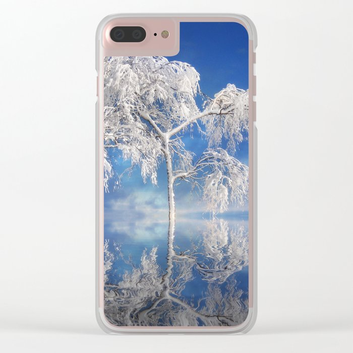 Snowy Winter Tree Clear iPhone Case