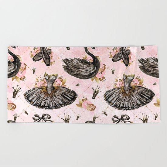 Black swans ballerina #1 Beach Towel