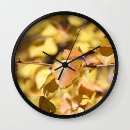 Late Fall Hawthorn Leaves Wall Clock