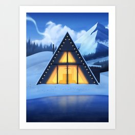 Just a Cabin in the Snow Art Print