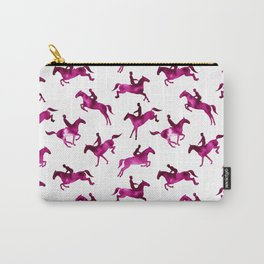 Watercolor Showjumping Horses (Magenta) Carry-All Pouch
