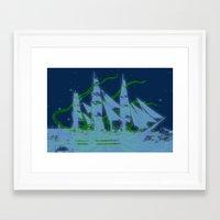kraken Framed Art Prints featuring Kraken by Roaring Branch Creative