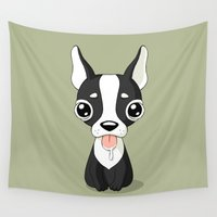 french bulldog Wall Tapestries featuring French Bulldog by Freeminds