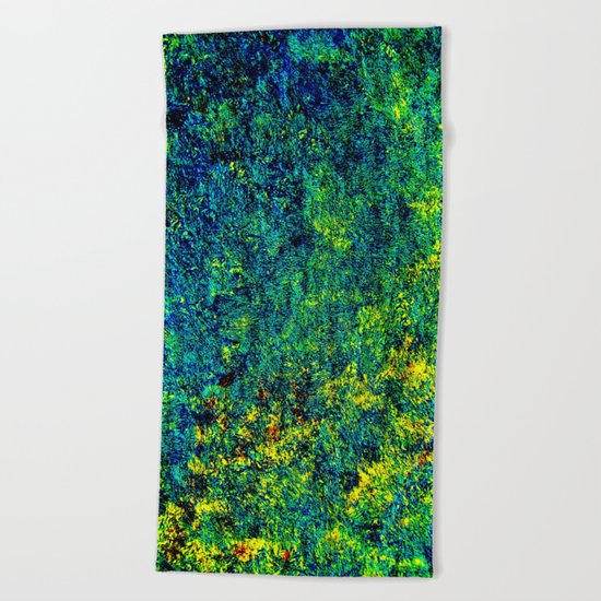 Abstract Flowers yellow and green Beach Towel