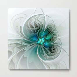 Abstract With Blue, Fractal Art Metal Print