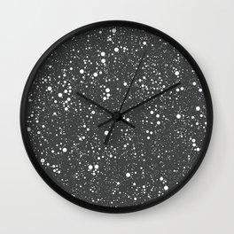 Chaotic circles pattern. Dark Grey. Wall Clock