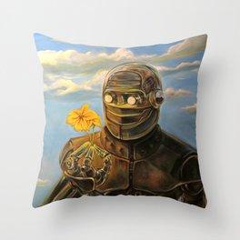 Robot & Flower Throw Pillow