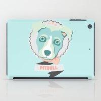 pitbull iPad Cases featuring Pastel Pitbull by Minette Wasserman
