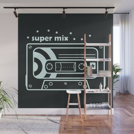Black and White Mix Cassette Wall Mural