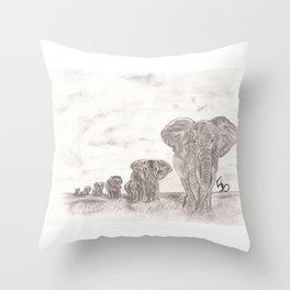 Elephant Patrol Throw Pillow