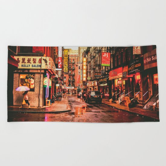New York City Rain in Chinatown Beach Towel